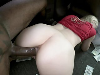 Fair-haired girl rides the BBC after being seduced and paid