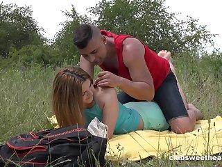 Deep penetration outdoor romance for this virgin 18 teen