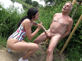 Provocative slut drops more than her knees to suck an older man's dick