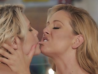 Bewitching blonde is satisfying her girl friend with cunnilingus