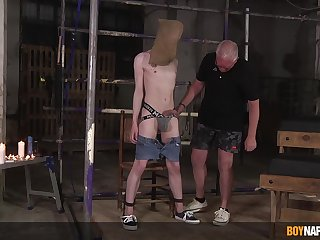 Masked twink endures old man's punishment in sexual XXX attraction