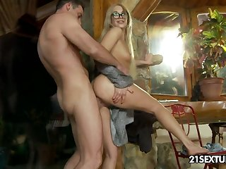 Up to there quite leggy nympho in glasses Lindsey Olsen takes cock into ass