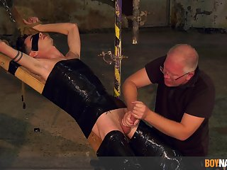 Pa plays with twink's cock with reference to merciless BDSM