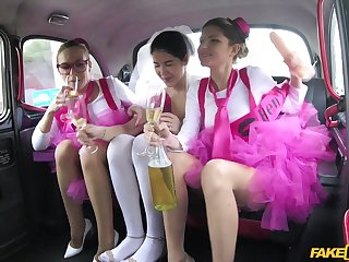 Cheerful bride Cristal Caitlin is ready for an awesome fuck in hammer away taxi