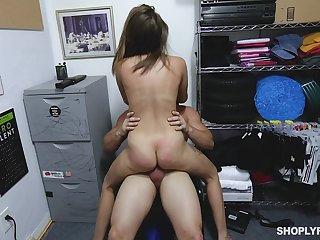 Teen shop lifter gets her pussy enlarged by the store manager